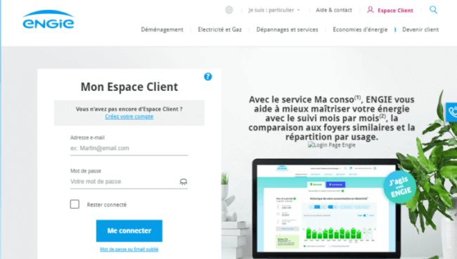 Création d'un compte sur l'espace client Engie